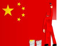 Painting The Flag Of China Stock Photography