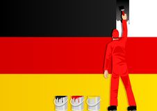 Painting the flag of Germany Stock Images