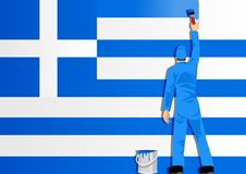 Painting The Flag Of Greece Stock Photo