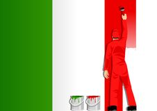 Painting the flag of Italy Stock Photos