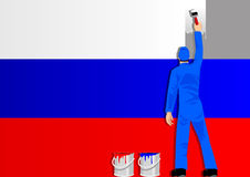 Painting The Flag Of Russia Stock Photos