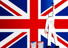 Painting The Flag Of UK Royalty Free Stock Photos