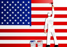 Painting The Flag Of USA. Illustration of a man figure painting the flag of USA Stock Photography