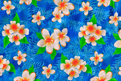 Painting flower on fabric. Painting traditional flower of Thailand on fabric Royalty Free Stock Photography