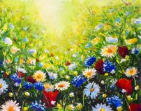 Painting flower modern colorful wild flowers. Beautiful flower meadow - multicolored flowers on a sunny summer field. Flower landscape Original oil painting on royalty free stock photos