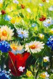 Oil painting close-up flower. Big flowers closeup macro on canvas. Modern Impressionism. Impasto artwork. Painting flower modern colorful wild flowers canvas royalty free stock photo