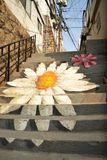 Painting flower picture on the public stair. Korea Royalty Free Stock Photo