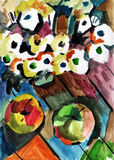 Painting flowers and apples Royalty Free Stock Photography