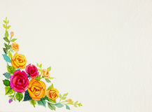 Painting flowers art watercolor pattern original colorful of rose Royalty Free Stock Photos