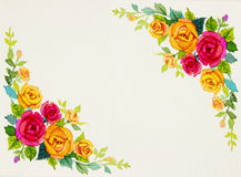 Painting flowers art watercolor pattern original colorful of rose Royalty Free Stock Photography