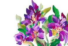 Painting flowers on a background. Oil painting, Impressionist stock images
