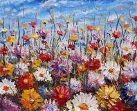 Painting of flowers,beautiful field flowers on canvas Stock Photo