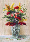 Painting Flowers in a Crystal Vase. Picture Oil Painting on a Canvas, a Bouquet of Flowers in a Crystal Vase Royalty Free Stock Image