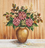 Painting Flowers Dahlias in a Vase Royalty Free Stock Images