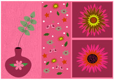 Painting flowers with leaves. And birds textured pink polka dots Stock Image