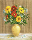 Painting Flowers Marigold in a Pot Royalty Free Stock Photos