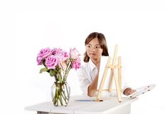 Painting flowers in a vase. Royalty Free Stock Image