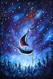 Painting Flying an old pirate ship. Sea ship is flying above starry sky. A fairy tale, a dream. Peter Pan. Illustration. Postcard. Stock Photo