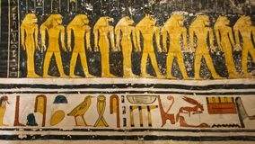 Painting found in the tomb of King Tut in the Valley of the Kings in Luxor, Egypt. Painting with hieroglyphs found in the tomb of King Tut in the Valley of the stock photo