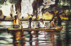 Painting four indies. Painting of four Indies on a boat on the Amazon River Royalty Free Stock Images