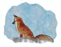 A painting of a fox in the snow, painted with watercolor. Stock Photo