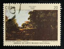 Painting by Frederick W. Watts `Landscape with Road and Village`, Paintings in the National Museumserie, circa 1981. MOSCOW, RUSSIA - OCTOBER 1, 2017: A stamp Stock Image