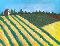 Painting of French countryside with a Tower and fields. Van Gogh like Impressionst Painting of French countryside with a Tower and fields of orange and green Stock Images