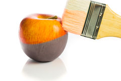 Painting a fresh red apple black and white Stock Photography