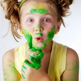 Painting is fun for kid Stock Photos