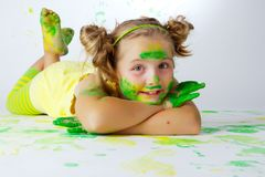 Painting is fun for kid Stock Images