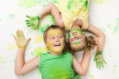 Painting is fun for kids Royalty Free Stock Photos