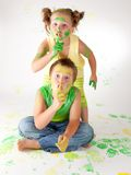 Painting is fun for kids. Happy children play with the paint Stock Photography