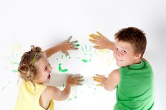 Painting is fun for kids Stock Photo