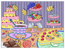 Painting with funny bees in sweetshop. Hand drawn colorful illustration, artwork with sweets, cakes and candies, food and celebration theme royalty free illustration