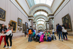 Painting gallery at the Louvre- Paris Stock Image