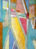 A painting - geometric abstraction. A geometric abstraction, painted on a textured surface Royalty Free Stock Photos
