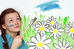 Painting Girl Royalty Free Stock Photos