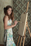 Painting girl Royalty Free Stock Photo