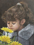 Painting of a girl next to flowers Stock Photo