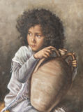 Painting of a girl with a pitcher Royalty Free Stock Image