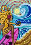 Painting, Girl surfer on the beach with surfboard, bright colors stock illustration