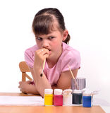 Painting girl waiting for inspiration Royalty Free Stock Images