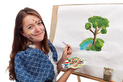 Painting girl Stock Image