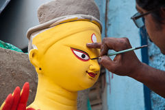 Painting goddess Durga's eyes Stock Image