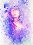 Painting Goddess Woman in cosmic space. Computer collage and marble Structure. stock illustration