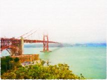 Painting of Golden Bridge Royalty Free Stock Photo
