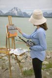 Painting Grand Teton Royalty Free Stock Photo