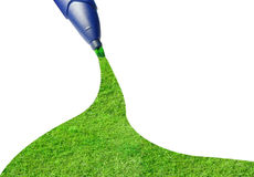 Painting the grass with green marker Royalty Free Stock Images