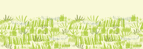 Painting of green grass horizontal seamless Royalty Free Stock Photography