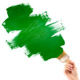 Painting green shape Royalty Free Stock Photography